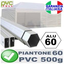 Gazebo ALLUMINIO 3x6m -PIEGHEVOLE PORTATILE pvc ALLUMINIO 60MM