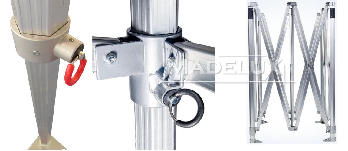 parti gazebo pieghevole alluminio madelux